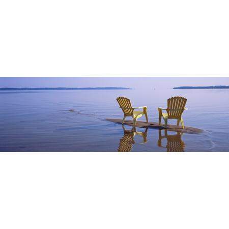 Reflection of two adirondack chairs in a lake Lake Michigan Michigan USA Poster Print](Halloween Usa Stores In Michigan)