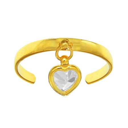 14k Yellow Gold CZ Dangle Heart Toe Ring Adjustable