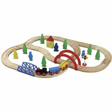 Deluxe Wooden Train Set - Maxim Enterprise 40-Piece Wooden Train Set