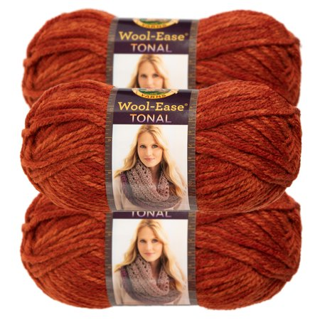 Lion Brand Yarn (3 Pack) Wool-Ease Tonal Acrylic & Wool Soft Chunky Yarn For Knitting Crocheting Bulky #5