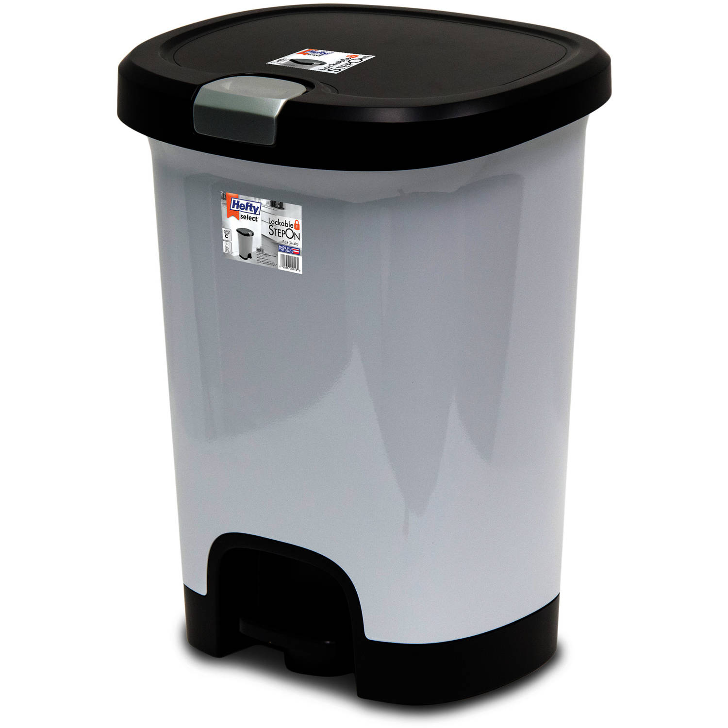 On Trash Can With Lid Lock Garbage Basket Plastic Cans Hefty 7 Gal