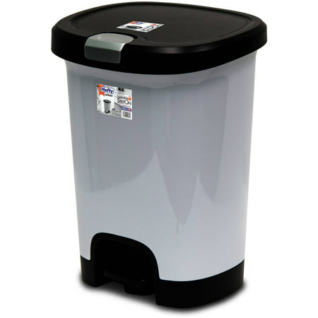 Hefty 7-Gallon Textured Step-On Trash Can with Lid Lock and Bottom Cap, Multiple