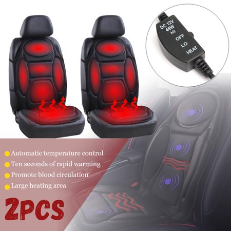 1 2Pcs Black Car Heated Cover Hot Pad Front Seat Heat Cushion Warm Gift Winter Heater Cloth Vehicle SUV Van 12V For Cold Weather Best Friend