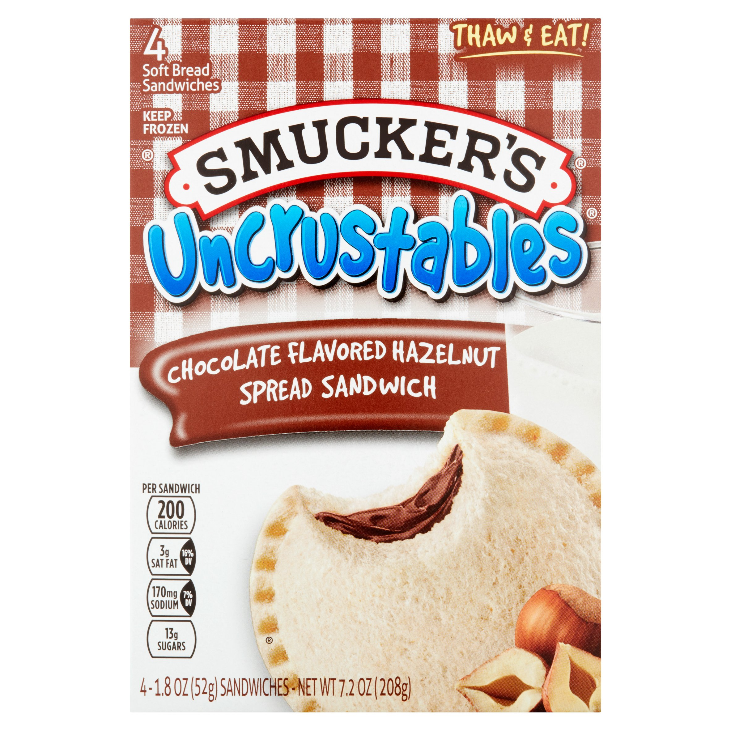 Smucker's Uncrustables Chocolate Flavored Hazelnut Spread Sandwich, 1.8 oz, 4 count