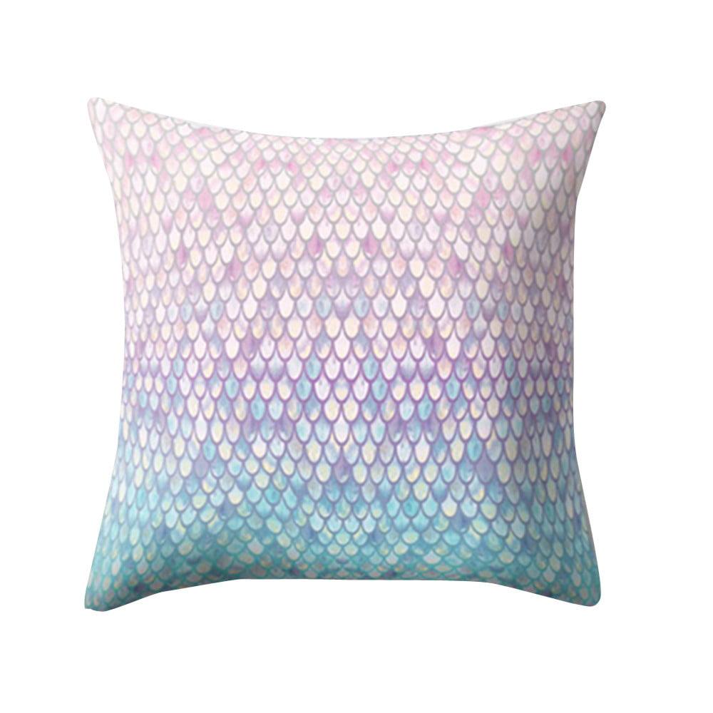 Aimik Decor Sofa Cushion Cover Fish Scale Peach Skin Pillow Case Walmart Com Walmart Com