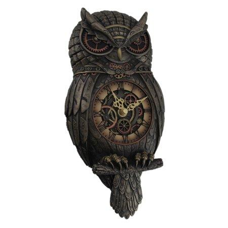 Metallic Bronze Finished Steampunk Owl Pendulum Wall Clock (Hooting Owl Clock)