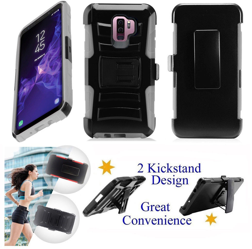 """for 6.2"""" Samsung S9 + PLUS Galaxy S 9 + PLUS Case Belt Clip Holster Phone Case 2 Kick stand Hybrid Shockproof Armor Impact Bumper Cover Blue"""