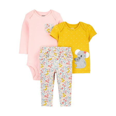 Child of Mine by Carter's Baby Girl Bodysuit, T-shirt & Ruffle Leggings, 3pc Outfit Set