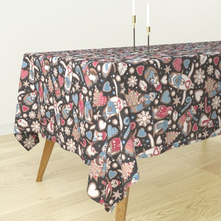 Tablecloth Biscuits Chocolate Christmas Snowflakes Penguin Cotton Sateen