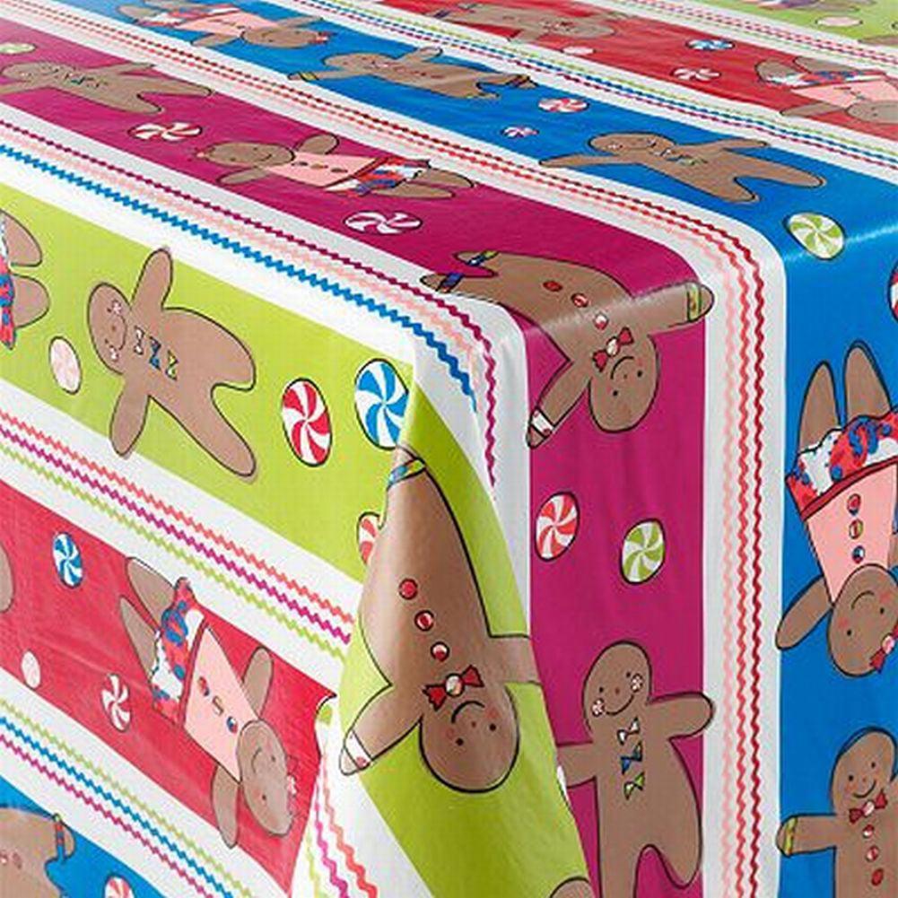 St Nicholas Square Sugar Spice Gingerbread Tablecloth Vinyl Table Cloth 70 Round