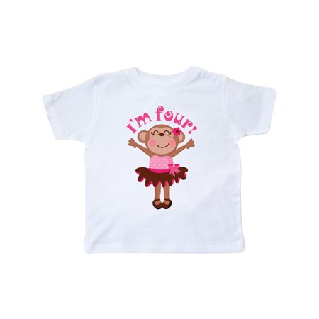Birthday Shirts For Toddlers (Monkey 4th Birthday Gift For Girl Toddler)