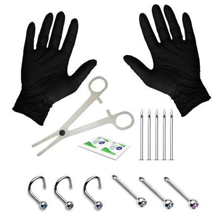 BodyJ4You 15PC Professional Piercing Kit 18G Nose Screw Rings Studs Stainless Steel Body (Bezel Nose Ring)