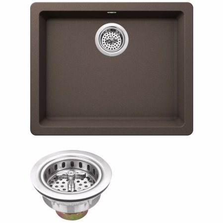 "Drop In Single Bowl - Cahaba CA344SB22-M Quartz Topmount / Drop In Single Bowl Kitchen Sink, 21 2/3"" x 17"" with Twist and Lock Strainer"