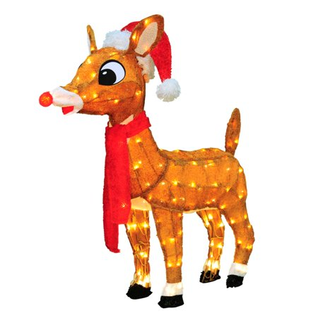 32 pre lit soft tinsel rudolph the red nosed reindeer christmas outdoor decoration