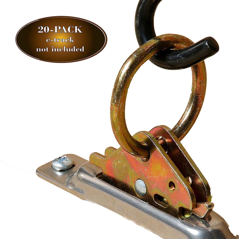 20 E-Track O Ring Tie-Down Anchors w/ E Track Spring Fitt...