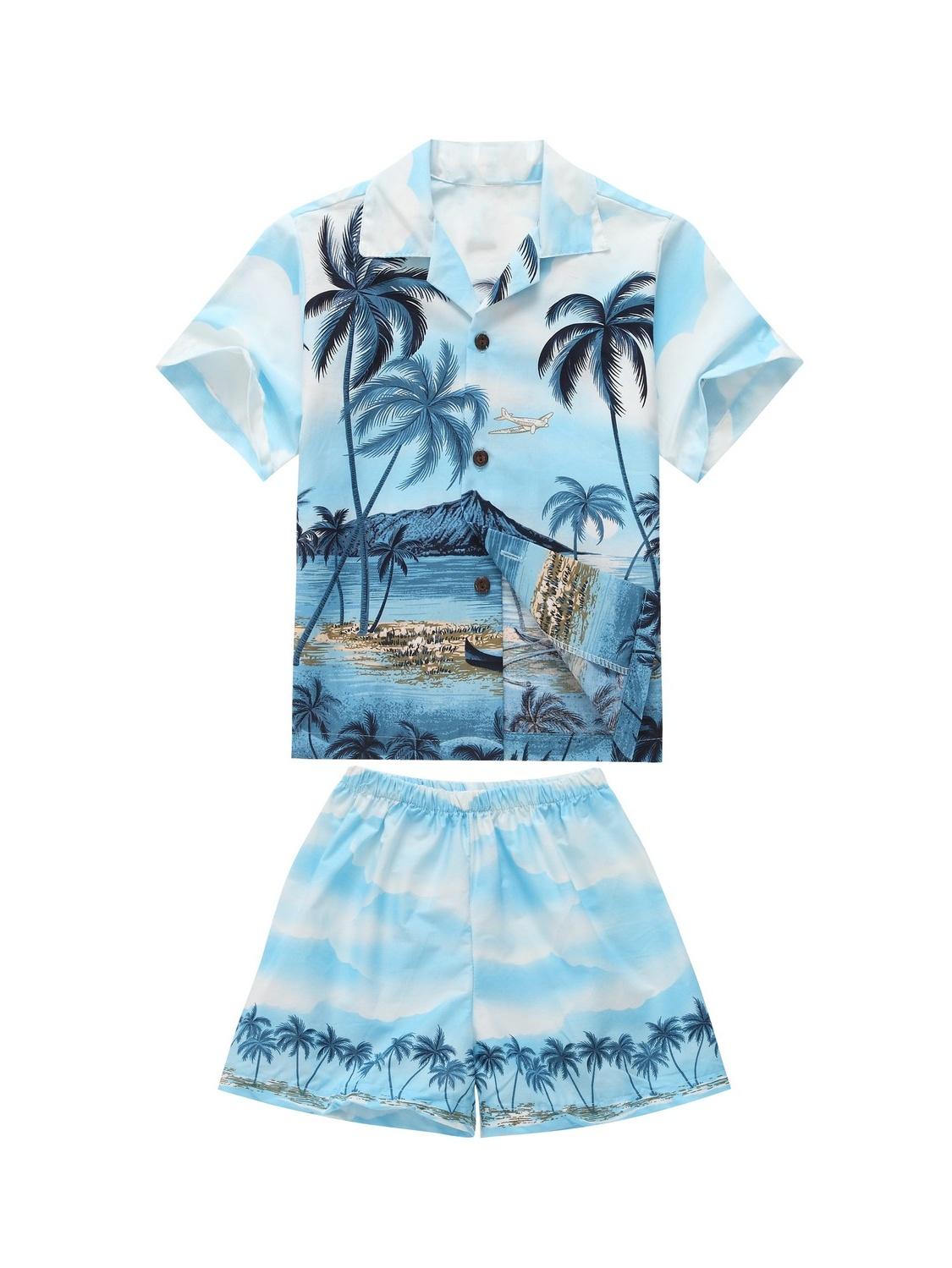 Made in Hawaii Luau Aloha Shirt and Shorts Boy Cabana Set Palm Edge Blue 6