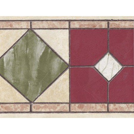 Tales Border - Norwall NB76946F Burgundy Tiles Wallpaper Border, Cream, Green, Red