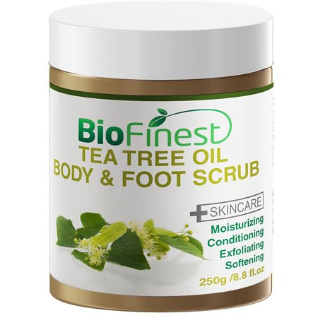 Biofinest Tea Tree Oil Body & Foot Scrub: with Dead Sea Salt, Jojoba Oil, Essential Oils - Best for Athlete (Best Sea Salt For Your Health)