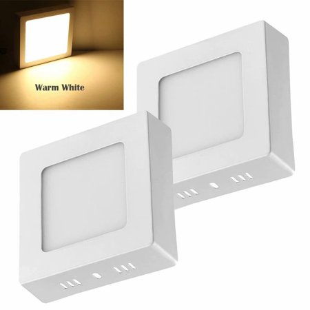 2pcs 6W LED Surface Mounted Ceiling Down Panel Lighting Warm White Bathroom Lamp Square