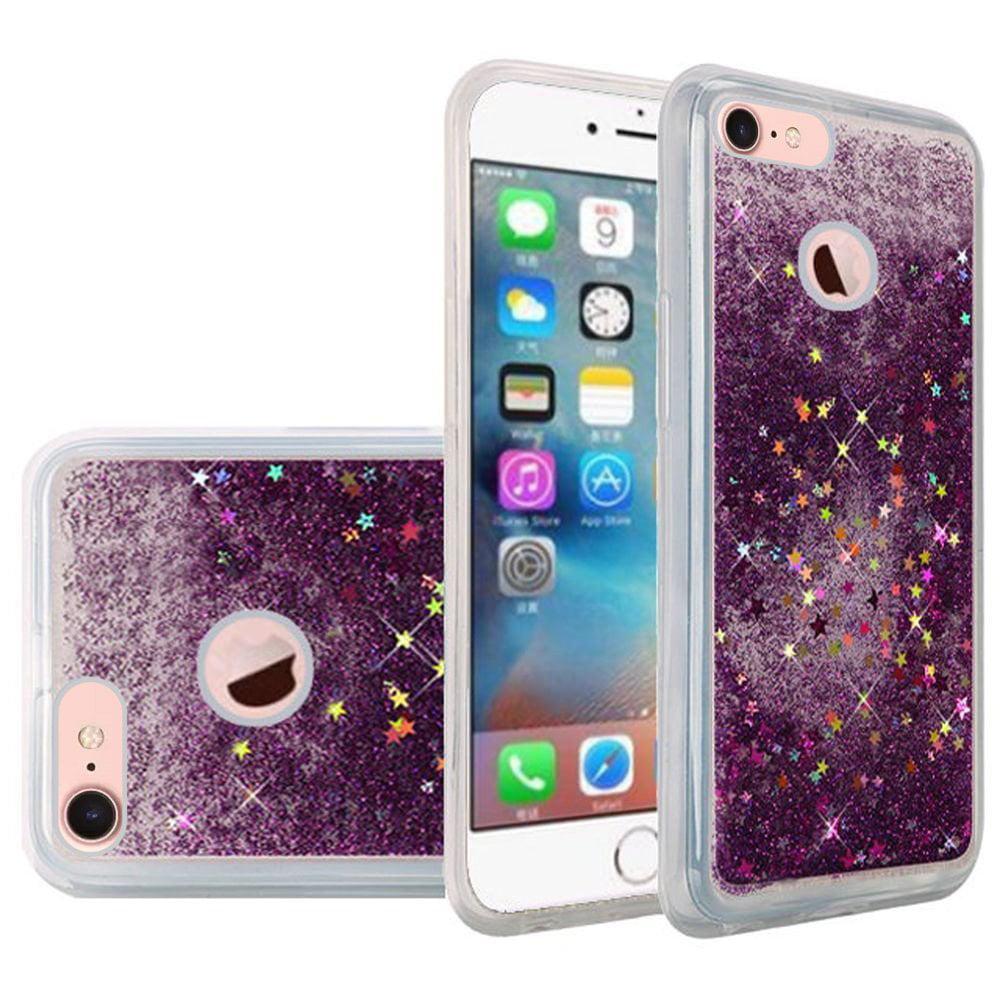 iPhone 7 Premium Luxury Glitter Sparkle Bling Hybrid Quicksand Designer Case Shining Fashion Style TPU Cover for Apple iPhone 7 - Purple, Flexible, Slim, ShockProof