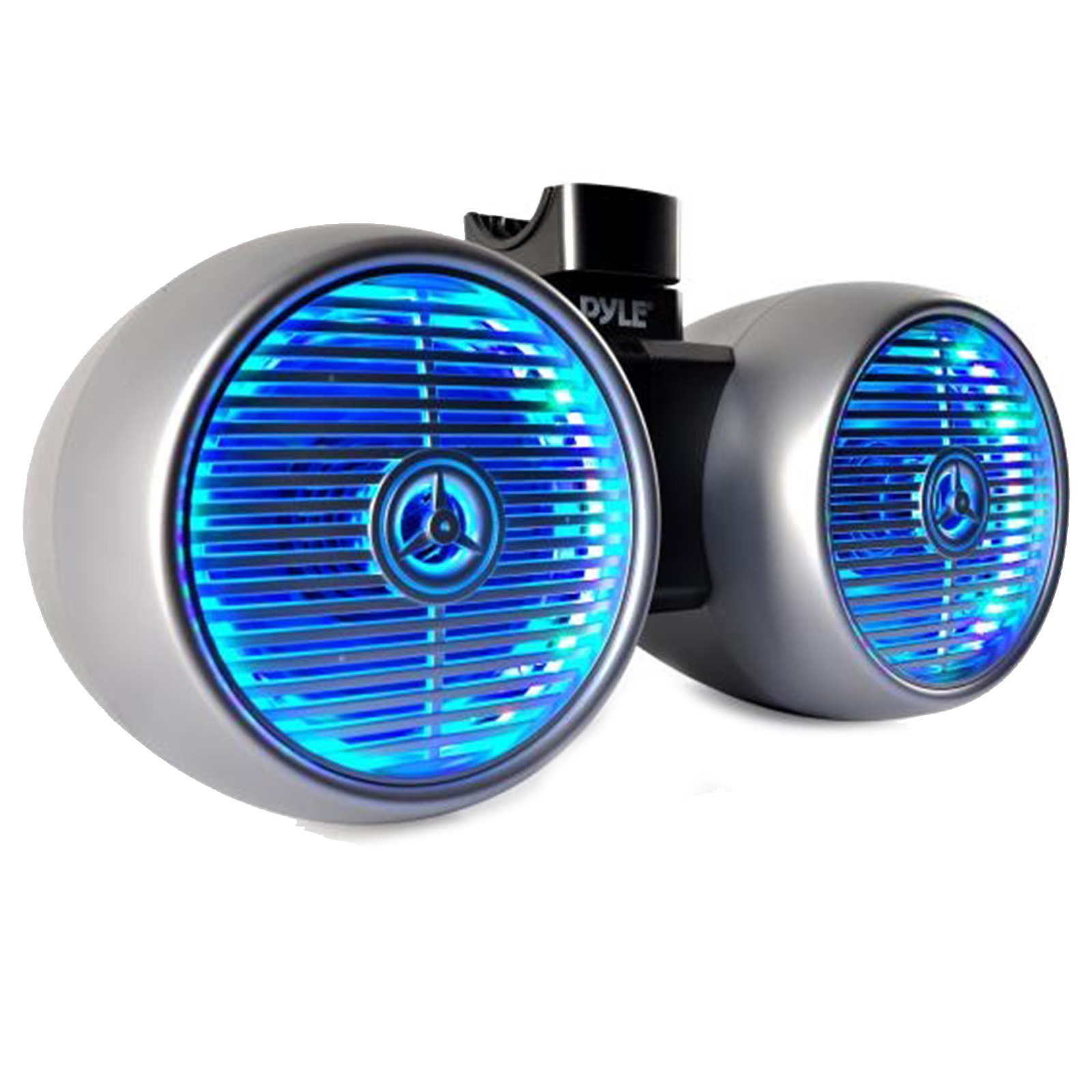 """Dual Marine Tower Speakers, Wakeboard Water Resistant Sound System, Built-in Programmable Multi-Color LED Lights, 600 Watt 8"""" Tower Speakers, Remote Control, Silver"""