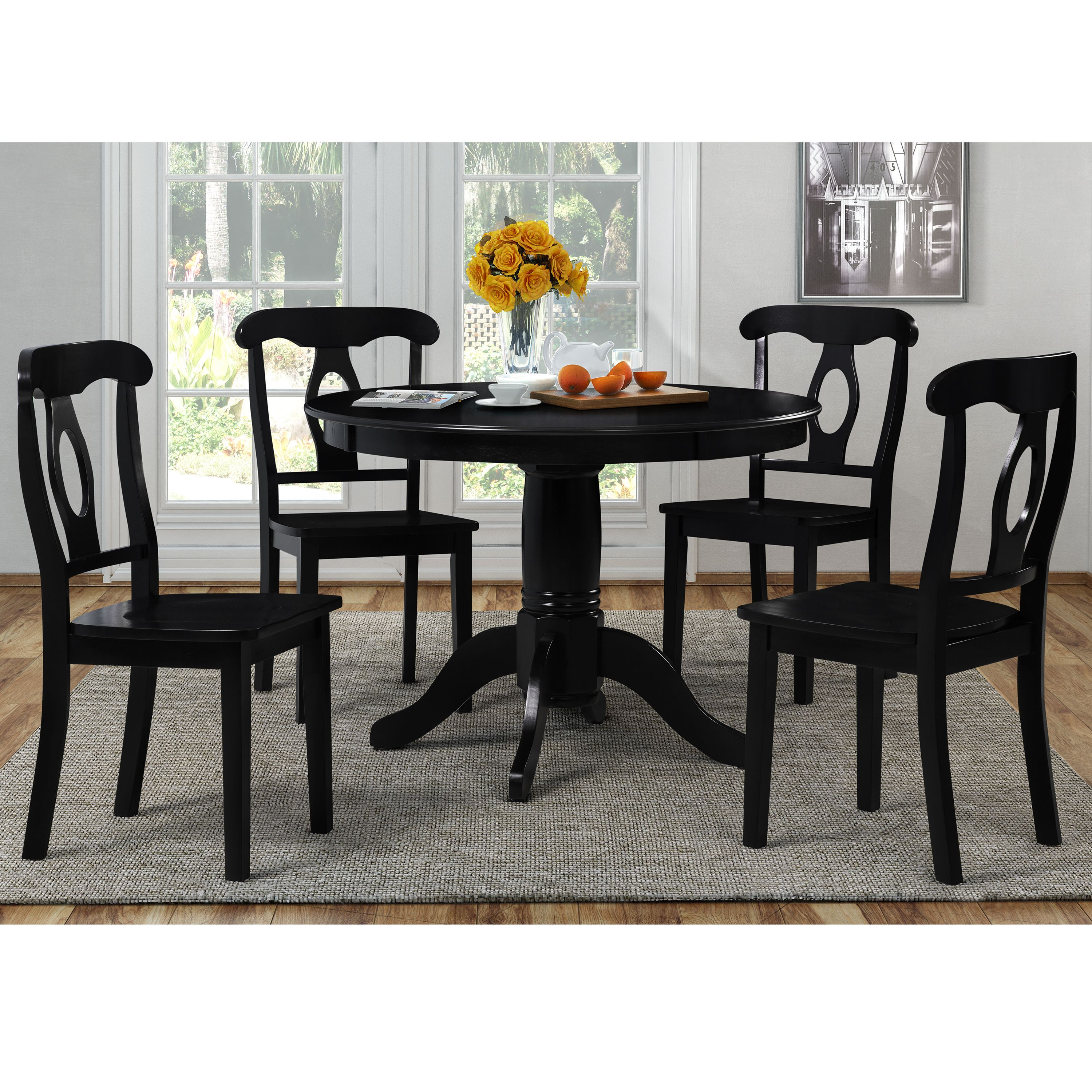 Dorel Living Aubrey 5-Piece Traditional Height Pedestal Dining Set, Multiple Colors
