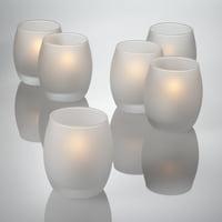 Richland Votive Candles & Eastland Frosted Grande Hurricane Votive Holders White Unscented Set of 12