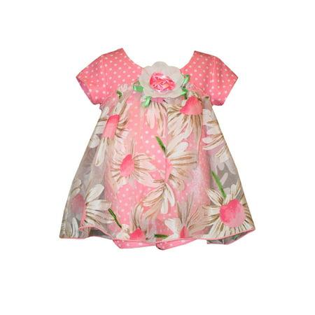 Bonnie Jean Baby Pink Daisy Dot Sheer Dress 12 months (Daisy Chain Dresses)