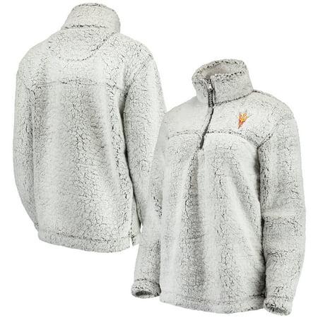 Arizona State Sun Devils Women's Sherpa Super-Soft Quarter-Zip Pullover Jacket - Gray (Sun Devil Jacket)
