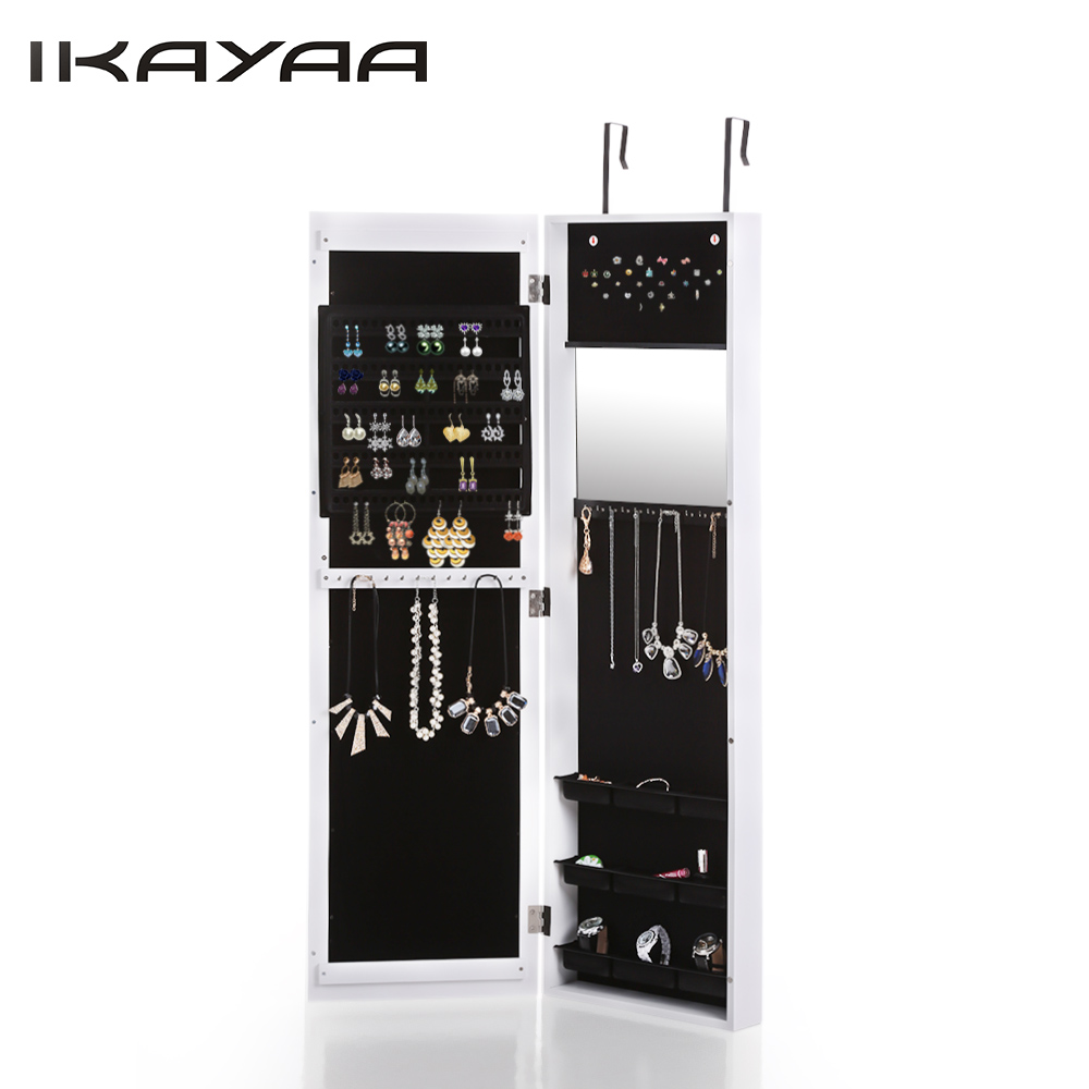 ikayaa fashion mirrored hanging over the door jewelry armoire cabinet wall mounted jewelry storage box organizer