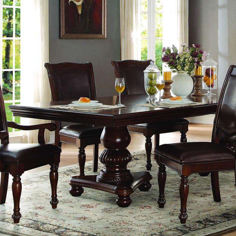 Homelegance Lordsburg Double Pedestal Dining Table in Dark Brown -  Walmart.com