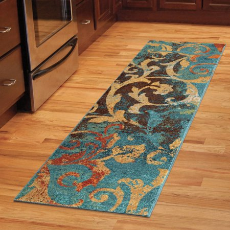Unique Watercolor Scroll Runner Area Rug Teal Blue Red