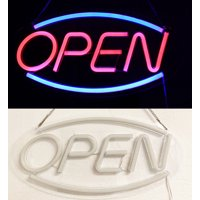Deluxe Transparent Ultra Bright LED Neon Light Flash OVAL OPEN Business Sign T30