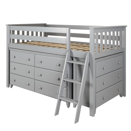 Harriet Bee Ginny Twin Loft Bed with Dresser and Bookcase
