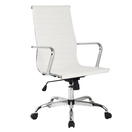 Costway Modern PU Leather Ergonomic High Back Office Chair Executive Computer (Back Office Desk Chair)