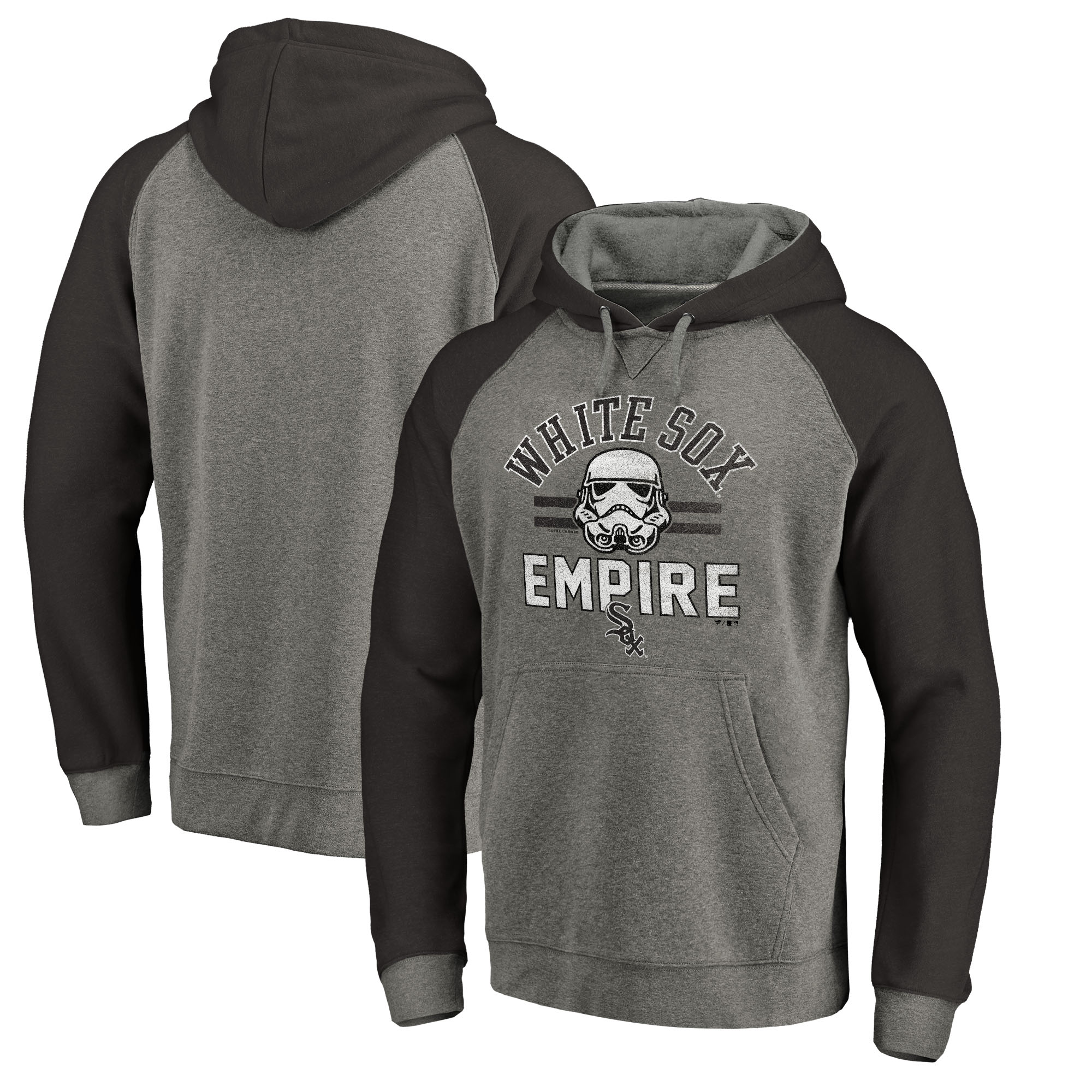Chicago White Sox Fanatics Branded MLB Star Wars Empire Tri-Blend Pullover Hoodie - Heather Gray