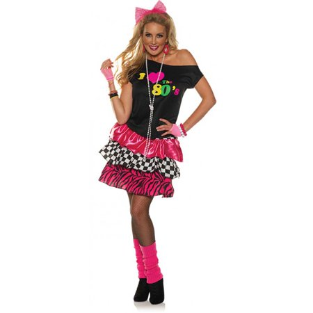 I Love The 80s Halloween Costumes (I Love The 80s Womens off the Shoulder Rocker Costume Party)