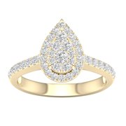 3/4 Carat T.W. Diamond 10kt Yellow Gold Pear-Shape Composite Engagement Ring