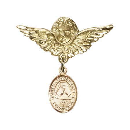 14kt Yellow Gold Baby Badge with St. Katherine Drexel Charm and Angel w/Wings Badge Pin 1 1/8 X 1 1/8 inches