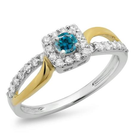 0.55 Carat (ctw) 10K Two Tone Gold Round Cut White & Blue Diamond Ladies Split Shank Bridal Halo Engagement Ring 1/2 CT 1/2 Ct Ctw Diamond Solitaire