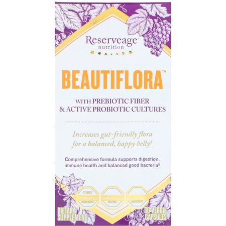 ReserveAge Nutrition  Beautiflora with Prebiotic Fiber   Active Probiotic Cultures  60 Veggie Capsules