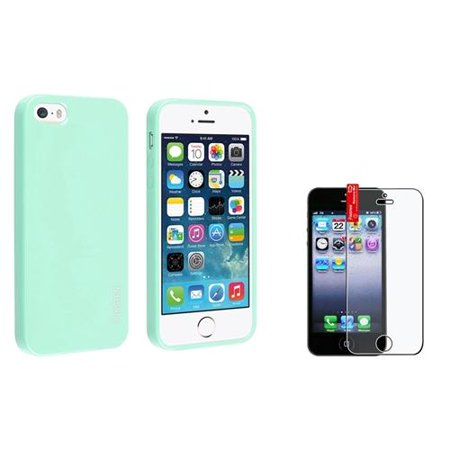 Insten Mint Green Jelly TPU Rubber Skin Case + Reusable Anti-Glare Screen Cover For Apple iPhone 5