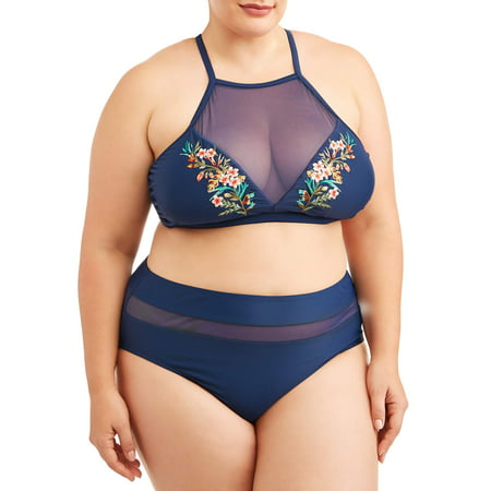 cef532d526ee Women's Plus Size Embroidery High Neck Swimsuit Top