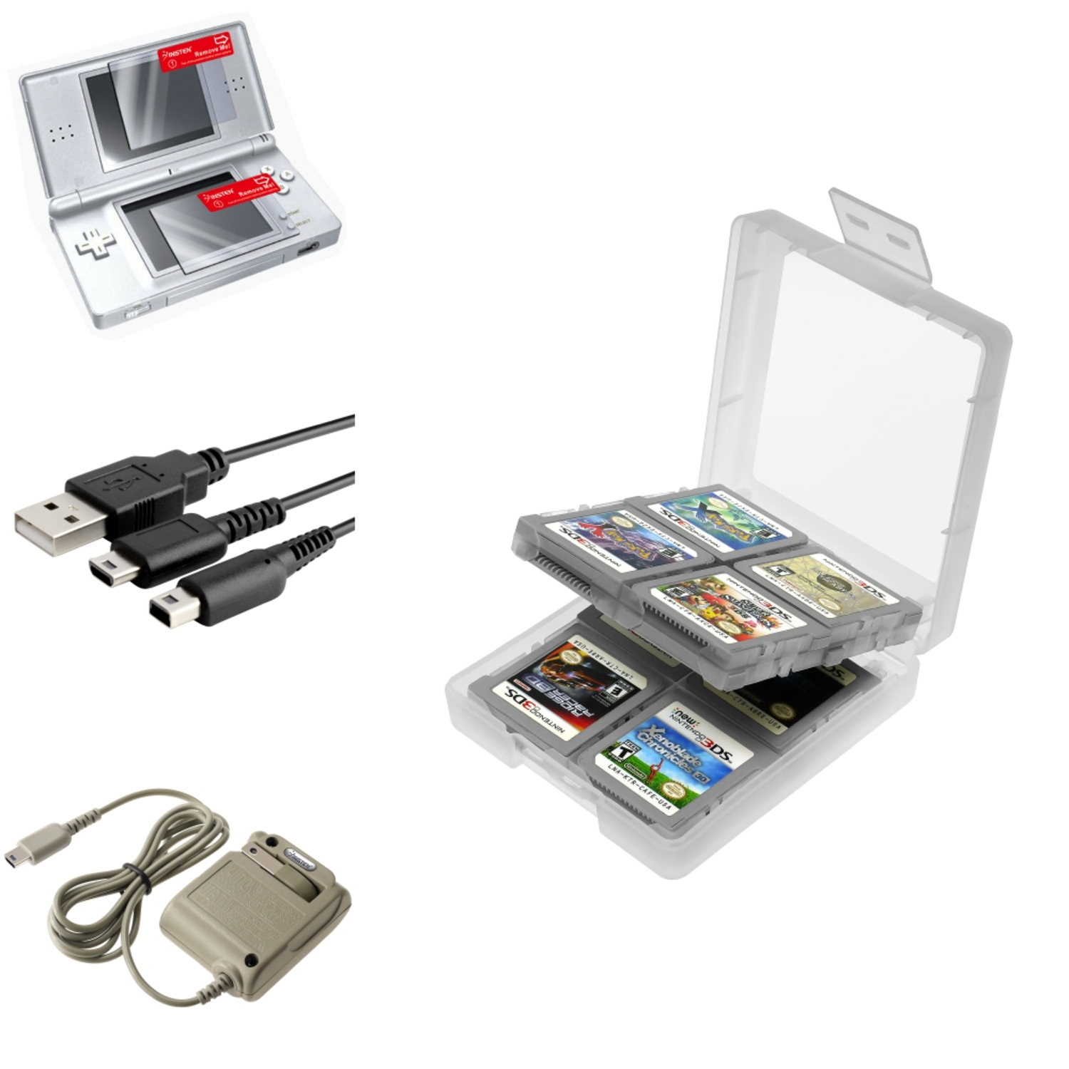 Insten White 16in1 Card Case+USB+Grey AC Charger+2-LCD Protector For Nintendo DS Lite