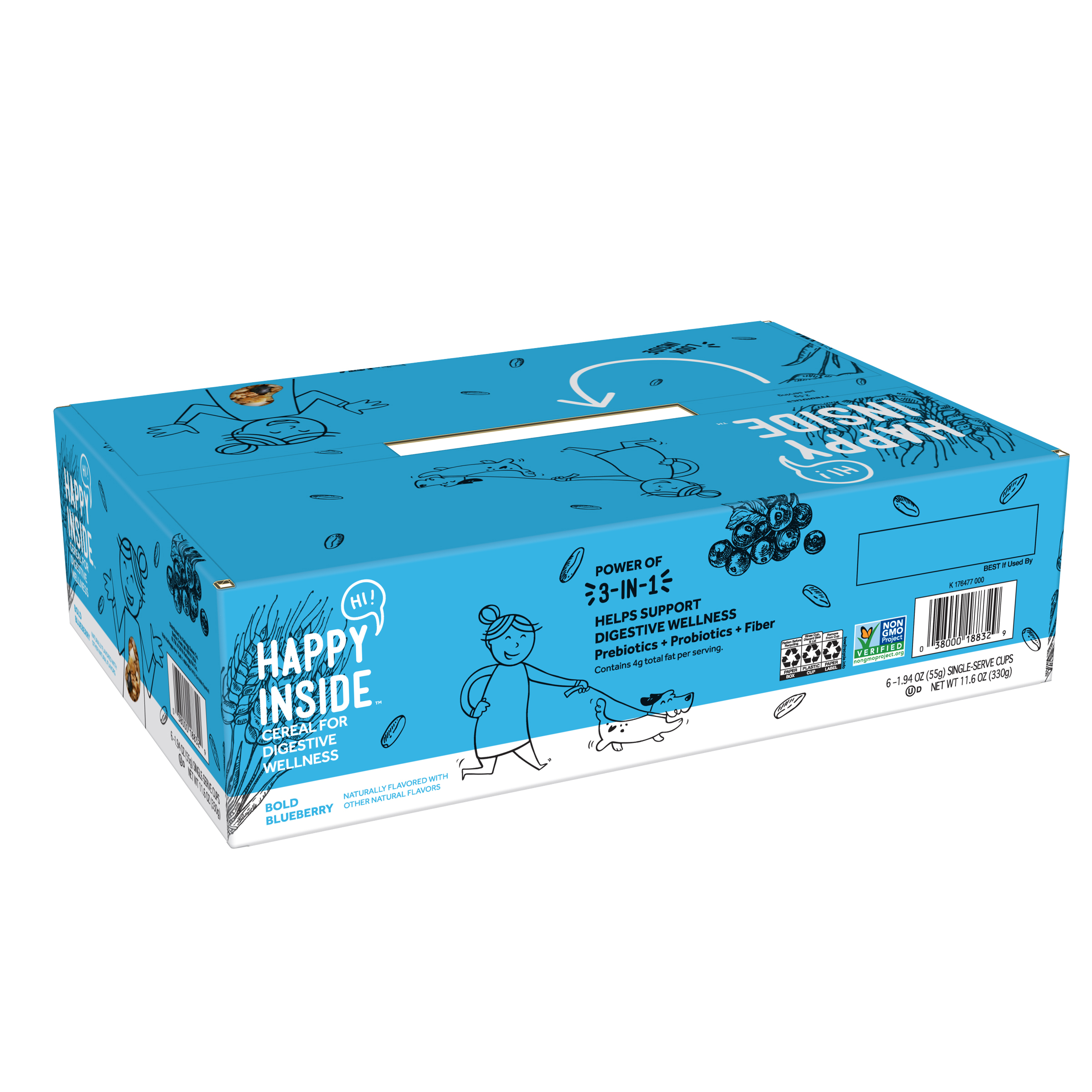 HI Happy Inside Bold Blueberry Breakfast Cereal for Digestive