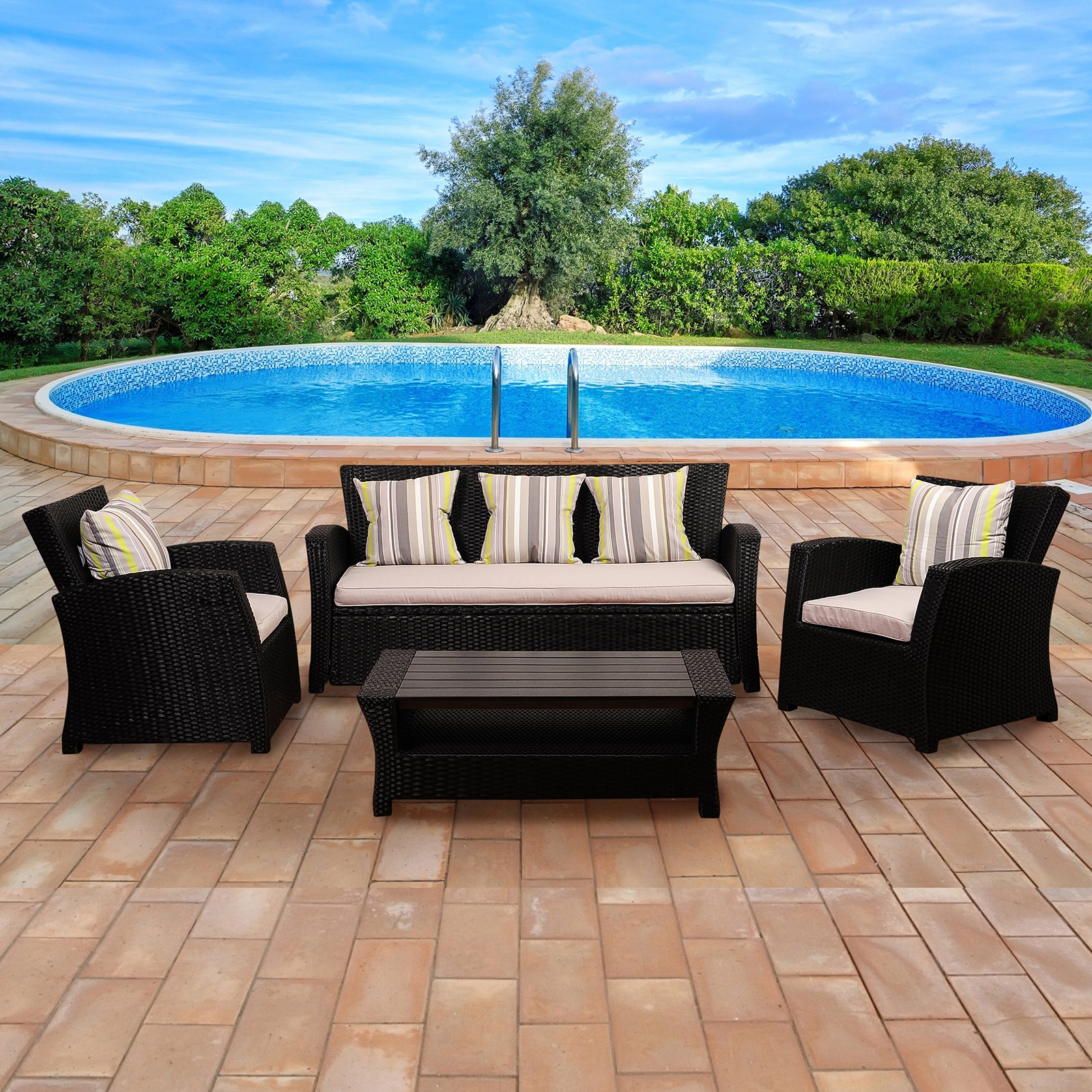 Atlantic Anchorage 4 Piece Seating Set with Cushions