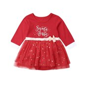 Baby Girl Christmas Long Sleeve Bow Sequins Party Dress Tutu Prom Cocktail Gown