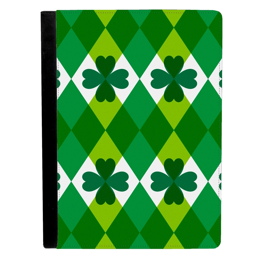 Image Of St Patricks Day Pattern with Four Leaf Clovers Apple iPad Pro 9.7 Inch Leather Flip Tablet Case