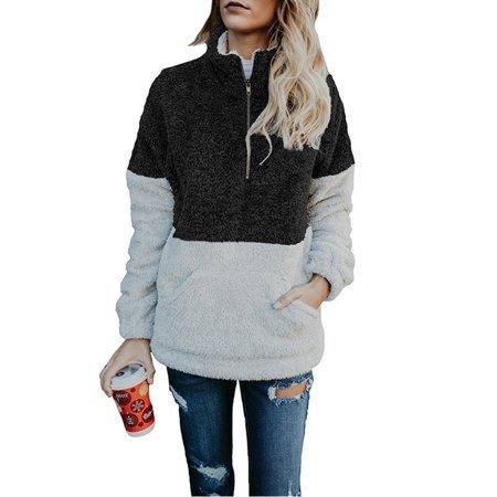 Womens Long Sleeve Half Zip (Women Winter High Neck Sweatshirt Jumper Long Sleeve Half-Zip Tops)