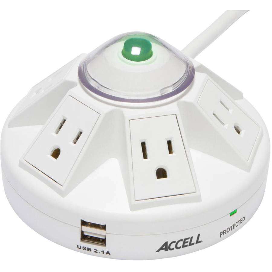 Accell Powramid 6 Outlet Surge Protector with 2x USB Charging Ports, UL Listed, 2.1A USB Output, 6ft Cord, White